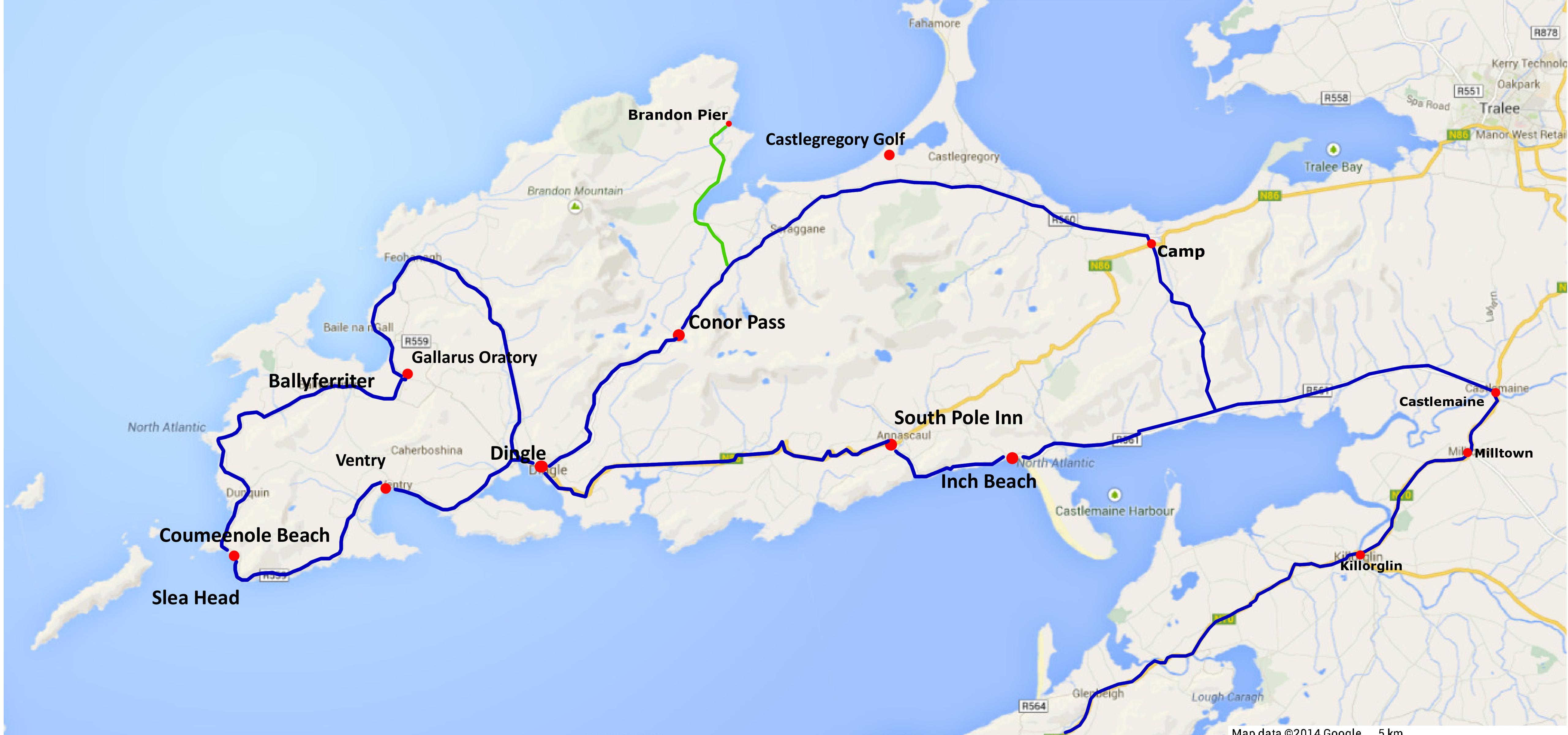 Dingle peninsula tour map