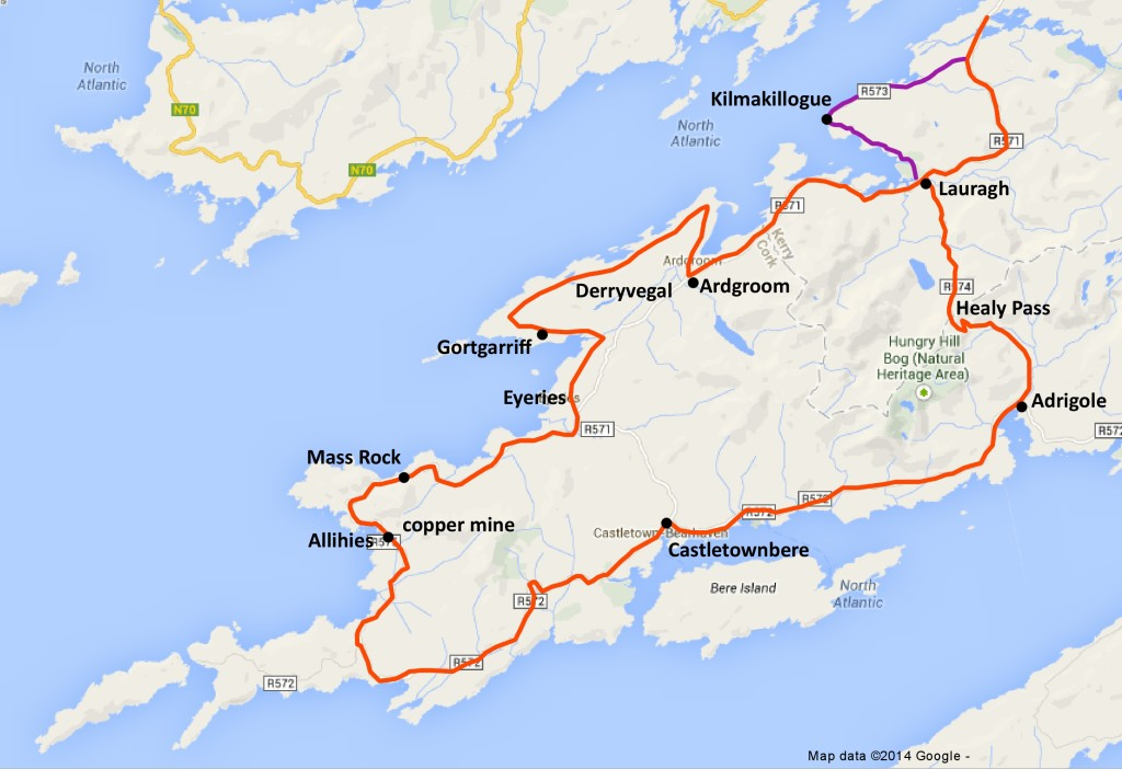 beara peninsual self-guiding map